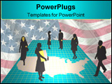 PowerPoint Template - Business people on a map of America with a grid