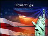 PowerPoint Template - symbol of america, flag, sunrise, statue of liberty.