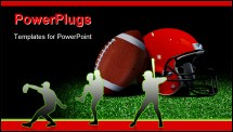 PowerPoint Template - American football and helmet on field over black