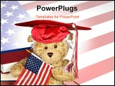 PowerPoint Template - Teddy bear wearing a red graduation hat with American flag.