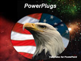 PowerPoint Template - owerPoint template with black background with American flag and hawk eagle in front. A great choice