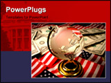 PowerPoint Template - a global with american flags and money in the background.