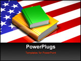 PowerPoint Template - 3d illustration of two glossy books sitting on top of a reflective American flag
