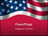 PowerPoint Template - flag of the USA waving in the wind