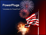 PowerPoint Template - a photo of a flag with fireworks in the background