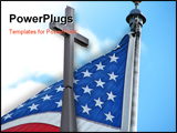 PowerPoint Template - 3D Cross And American Flag Against A Blue Sky