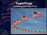 PowerPoint Template - american flags flutter in the breeze on the grounds of the washington monument.