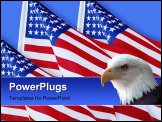 PowerPoint Template - Photo composition of American Flags on blue background for patriotic holiday or wallpaper