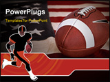 PowerPoint Template - Football America favorite sport. A ball on a vintage Old Glory