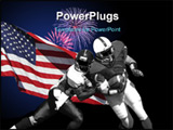 PowerPoint Template - Football players and American Flag isolated over black.