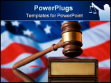 PowerPoint Template - Wooden justice gavel and block with brass