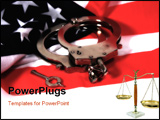 PowerPoint Template - flag and handcuffs with blur effect.