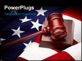PowerPoint Template - Portrayal of American Judicial Branch of Government with a gavel and flag