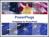 PowerPoint Template - The Capitol against American flag background