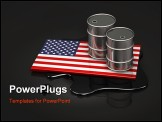 PowerPoint Template - d illustration of two metallic oil barrels sitting on top of a United States flag over a pool of sp