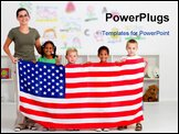 PowerPoint Template - an american teacher and happy preschool students holding USA flag