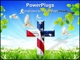 PowerPoint Template - This is a Cross with USA flag chromed with bevel