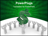 PowerPoint Template - One figure carries a U.S. dollar sign while a crowd cheers on.