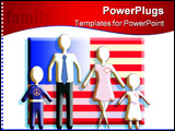 PowerPoint Template - Generic figures of the family standing in front of an American flag.