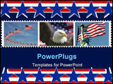 PowerPoint Template - statue of liberty with the american flag in the background