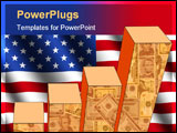 PowerPoint Template - bar chart and rippled American flag with currency illustration