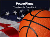 PowerPoint Template - Basketball with american Flag in the background