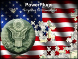 PowerPoint Template - American flag jigsaw over US dollars illustration