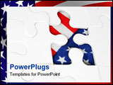PowerPoint Template - jigsaw with american flag showing through missing piece