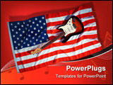 PowerPoint Template - Classic electric guitar on curvy America flag