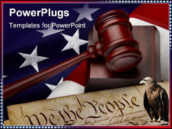 PowerPoint Template - Gavel and U.S. Constitution shot on American flag