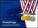 PowerPoint Template - three different medals from various scholastic awards