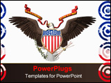 PowerPoint Template - accipitridae, the american bald eagle, united states seal. 3d render, illustration over white.