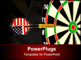 PowerPoint Template - darts arrow flying in the center of dartboard against the white background