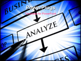 PowerPoint Template -  pen is pointing at the word ANALYZE printed on paper. The word is focused on with a blue color aro