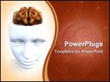 Anatomical open top head revealing a human brain inside