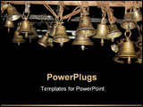 PowerPoint Template - Beautiful bells made of brass hung in an ancient Hindu temple in India.