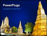 PowerPoint Template - A Wat Chaiwatthanaram, Ayutthaya province, Thailand. It is a Thai ancient temple.