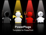 PowerPoint Template - eath an Angel the Devil and a Ghost as icon characters. Could be used for religious concepts hallow