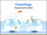 PowerPoint Template - gold fish jump one bowl to another bowl