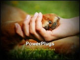 PowerPoint Template - yellow dog paw and human hand shaking friendship