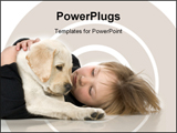 PowerPoint Template - Child with Labrador retriever puppy against white background