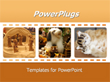 PowerPoint Template - An array of animal dolls on a film strip background