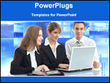 PowerPoint Template - business persons are working together with laptop