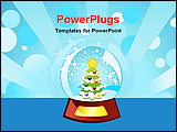 PowerPoint Template - animated image of a decorated Christmas tree inside a globe