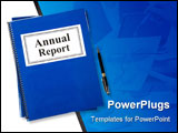 PowerPoint Template - Business Annual Report and pen with white background