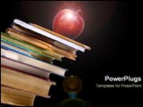 PowerPoint Template - An apple sits precariously on top of a pile of books.