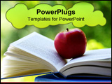 PowerPoint Template - A red apple on a book of blue color.