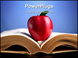 PowerPoint Template - Close up of red apple on open heavy book