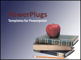 PowerPoint Template - An apple stacked on top of a pile of books