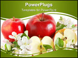 PowerPoint Template - Red apples with green leaves and flowers on white background